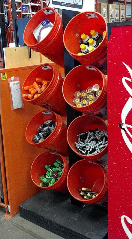 Buckets As Merchandising Device Fixtures Close Up