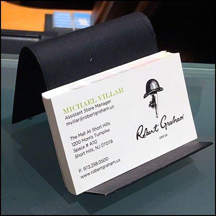 Kara silver salon business card hours fixtures close up robert graham in store business cards colourmoves
