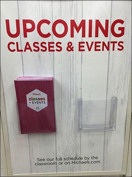 Michaels Upcoming Classes Brochure Holder – Fixtures Close Up